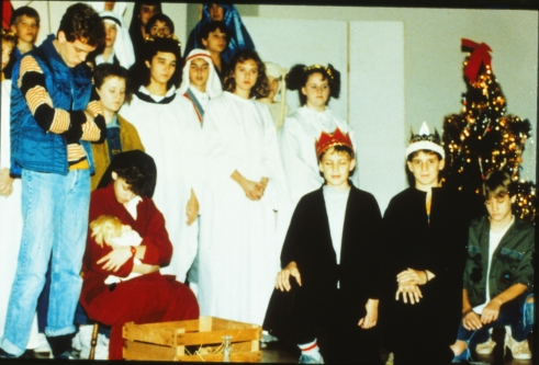 Brandon's character, Ralph, played Joseph in the pageant, along with Jill Starr who played Imogene, playing Mary.  Jennifer Ward was the youngest of the Herdmans, Grace, who played 'the angel of the Lord.'  Travis Newport and Chris Mayfield were wise men, along with another kid, Terry, whose last name I can't remember.  All of my seventh grade speech classes played the chorus for the show and bless their hearts - I completely forgot to put their names in the program!  Many parents let me know about it....and rightly so!