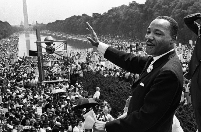 "Dr. Martin Luther King, Jr., after delivering his most well known address, ""I Have A Dream,"" at the Lincoln Memorial in 1963."