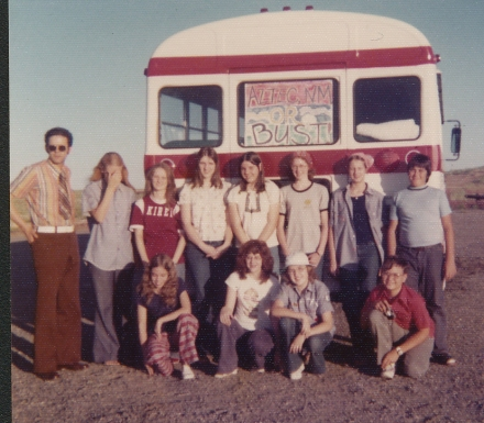 Mission trip to Aztec, NM, with part of my youth group from Tenth & Broad Church of Christ in 1975.  I'm on the bottom row in the goofy tennis hat.  Get a load of the youth minister's white belt and rust colored polyster pants.  Stylin'.  Driving a bus load of kids in a tie....